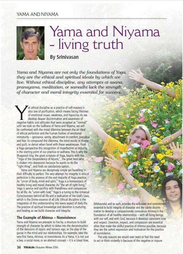 Yama and Niyama page 1 Yogalife