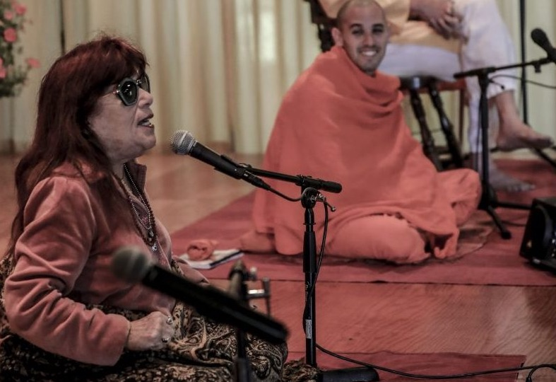 """<div style=""""line-height: 1.3; color: #efa110; font-family: catamaran;"""">Satsang: Our Karmic Path & the Goal of Life</div>"""